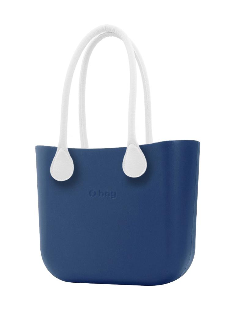 O bag  kék MINI kézitáska Bluette hosszú fehér kötél fogantyúval