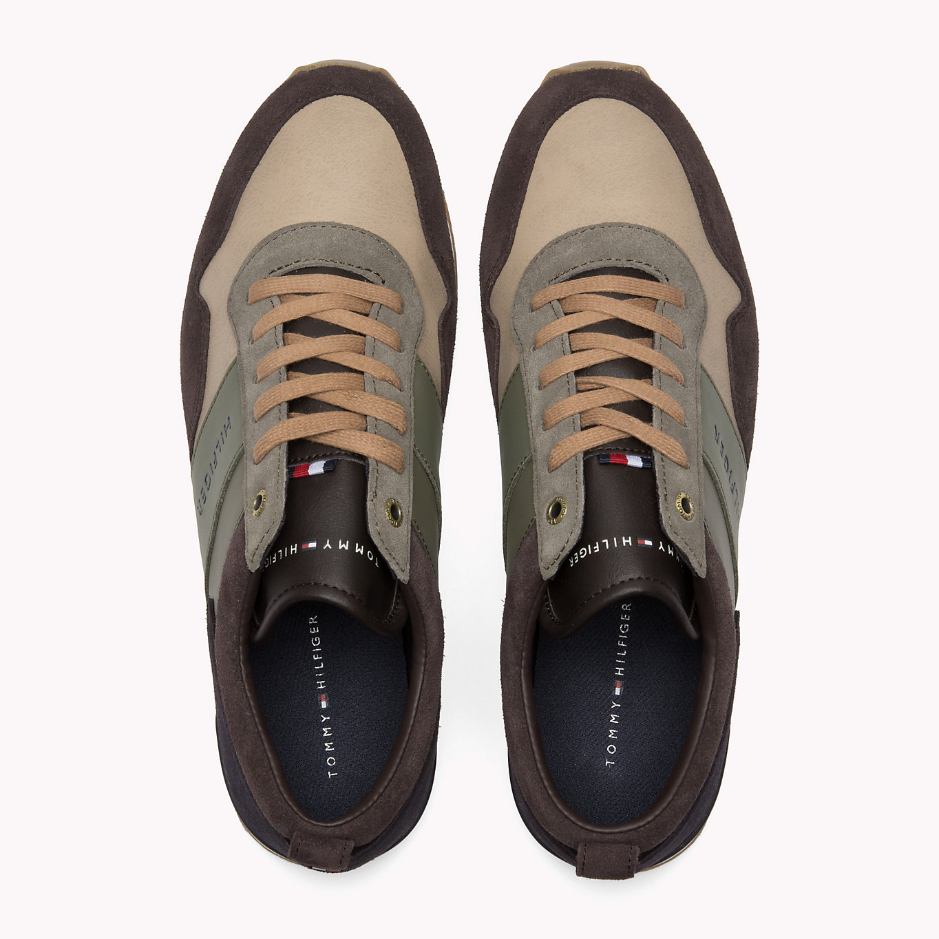 Tommy Hilfiger színes bőr férfi cipők Iconic Colour Mix Runner Coffeebean / Dusty Olive