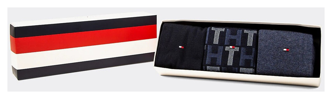 Tommy Hilfiger 3 pack zokni TH Men Mixed Stripes Giftbox 3P