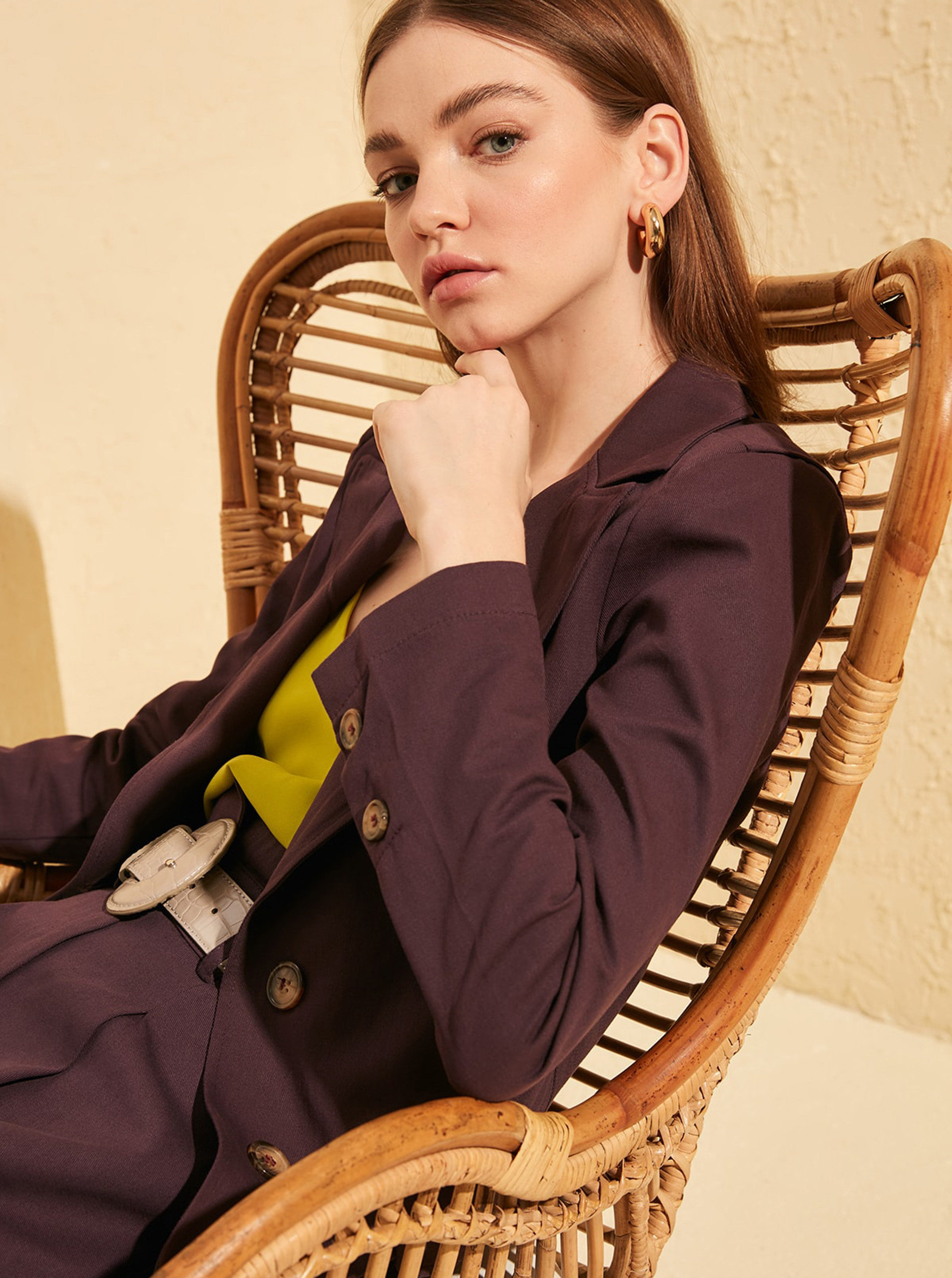 Trendyol lilák női kabát