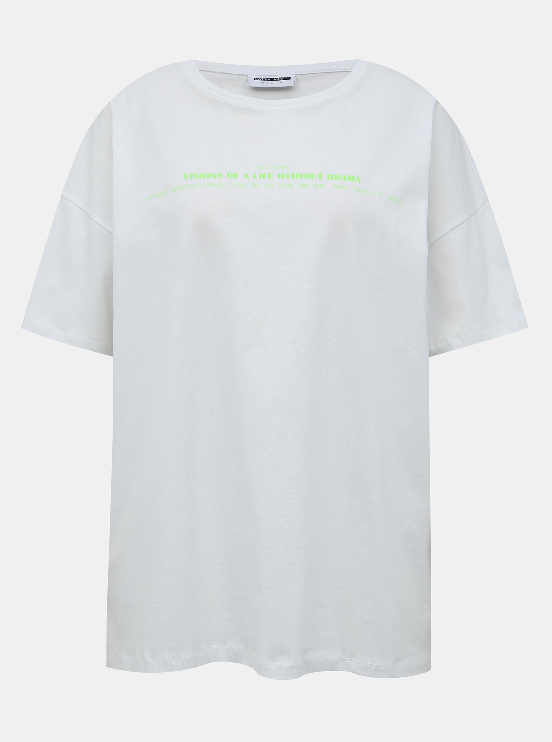 Fehér túlméretes póló Noisy May Ida nyomtatással