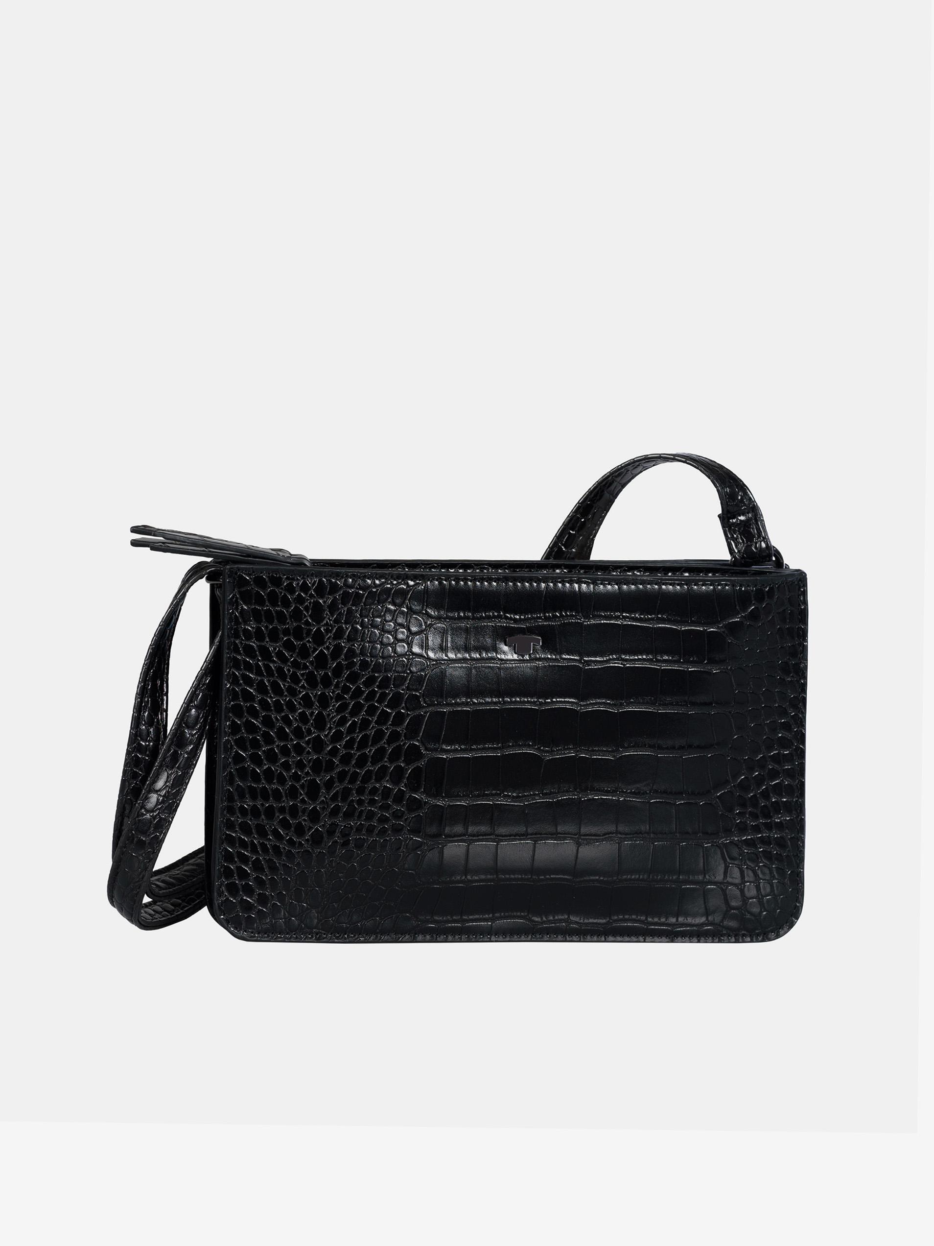 Fekete crossbody kézitáska, krokodil mintával, Tom Tailor
