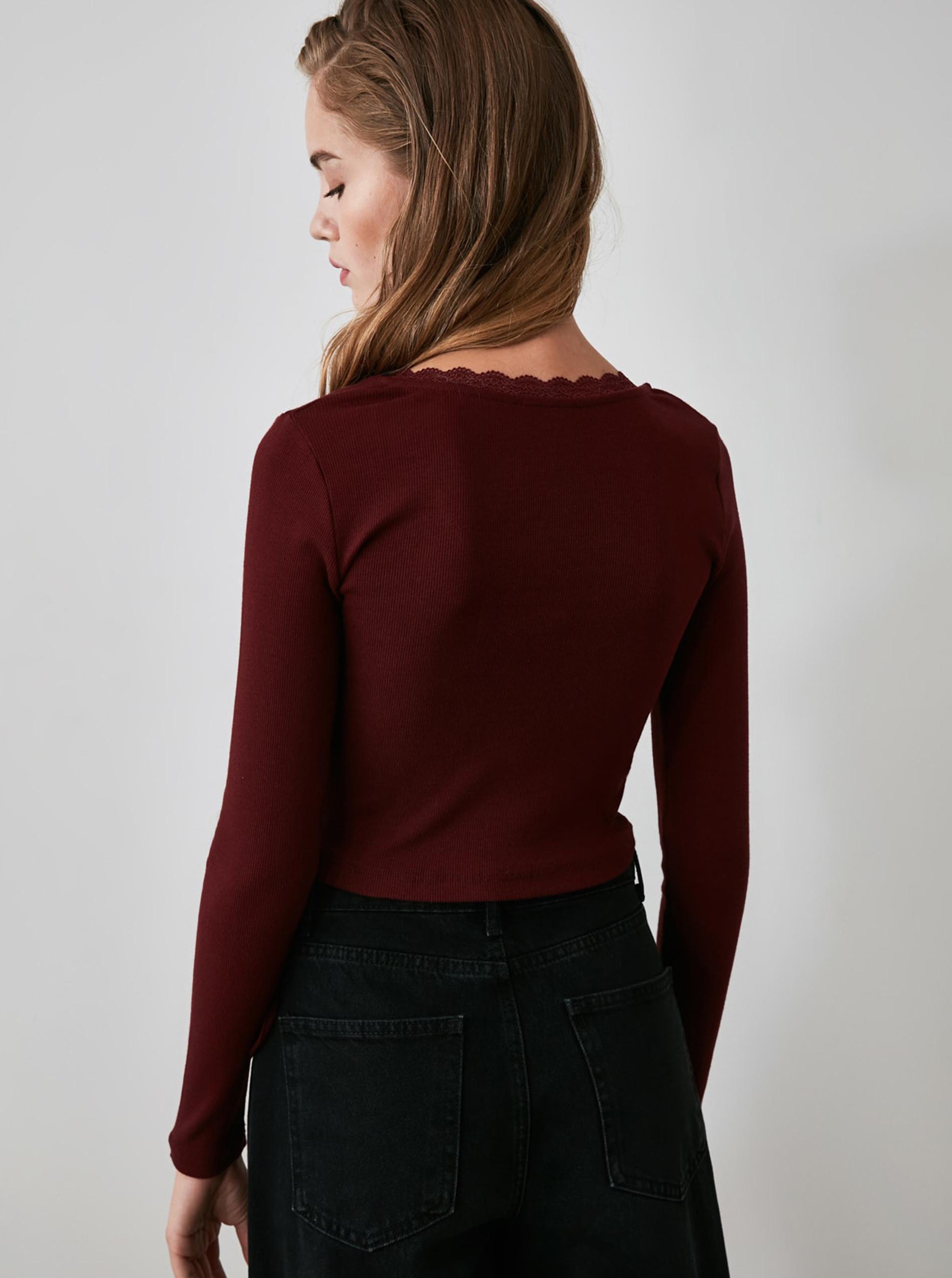 Bordó rövid póló, Trendyol kötéssel