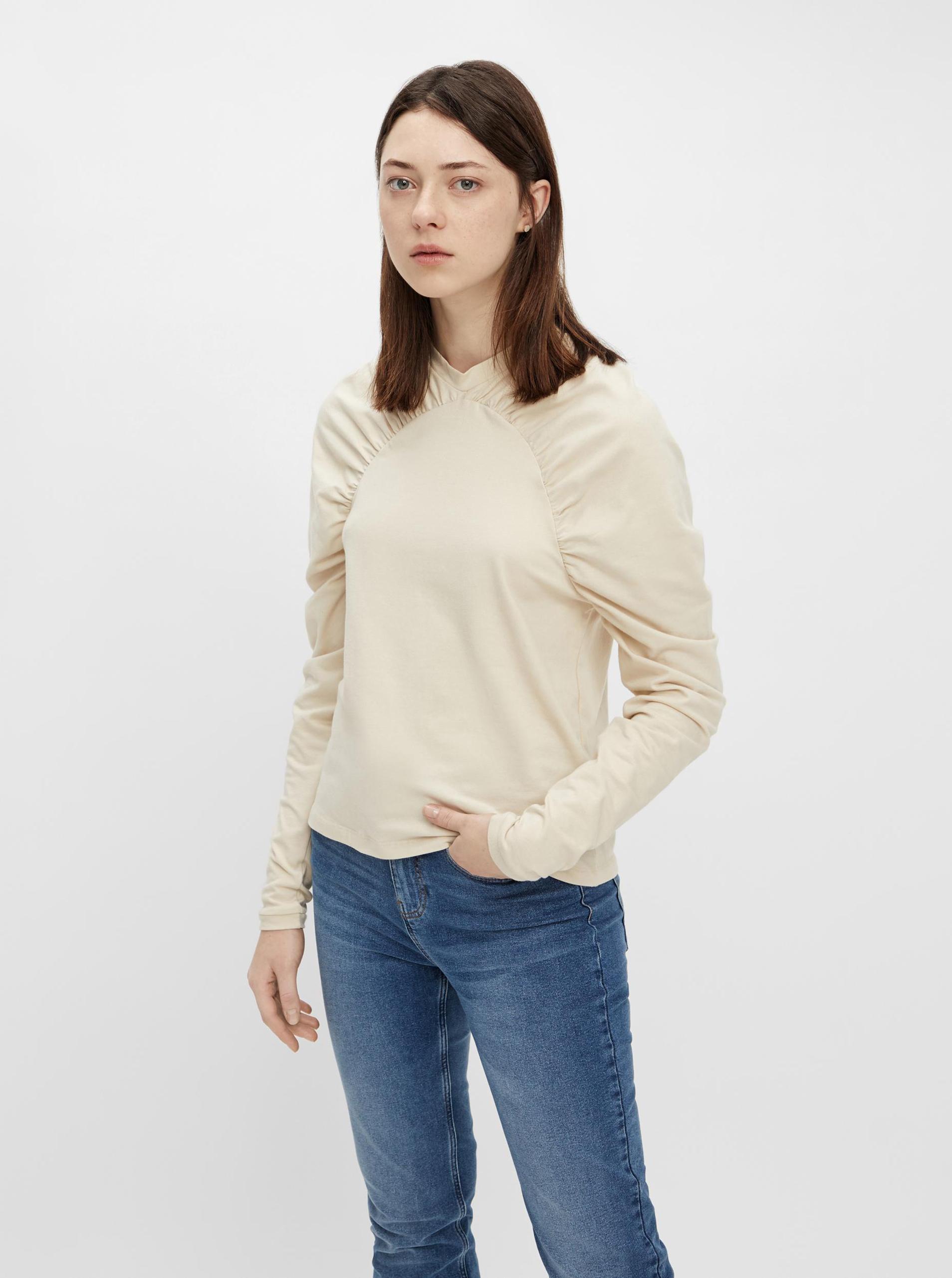 Pieces krémszínű női póló fodros ujakkal