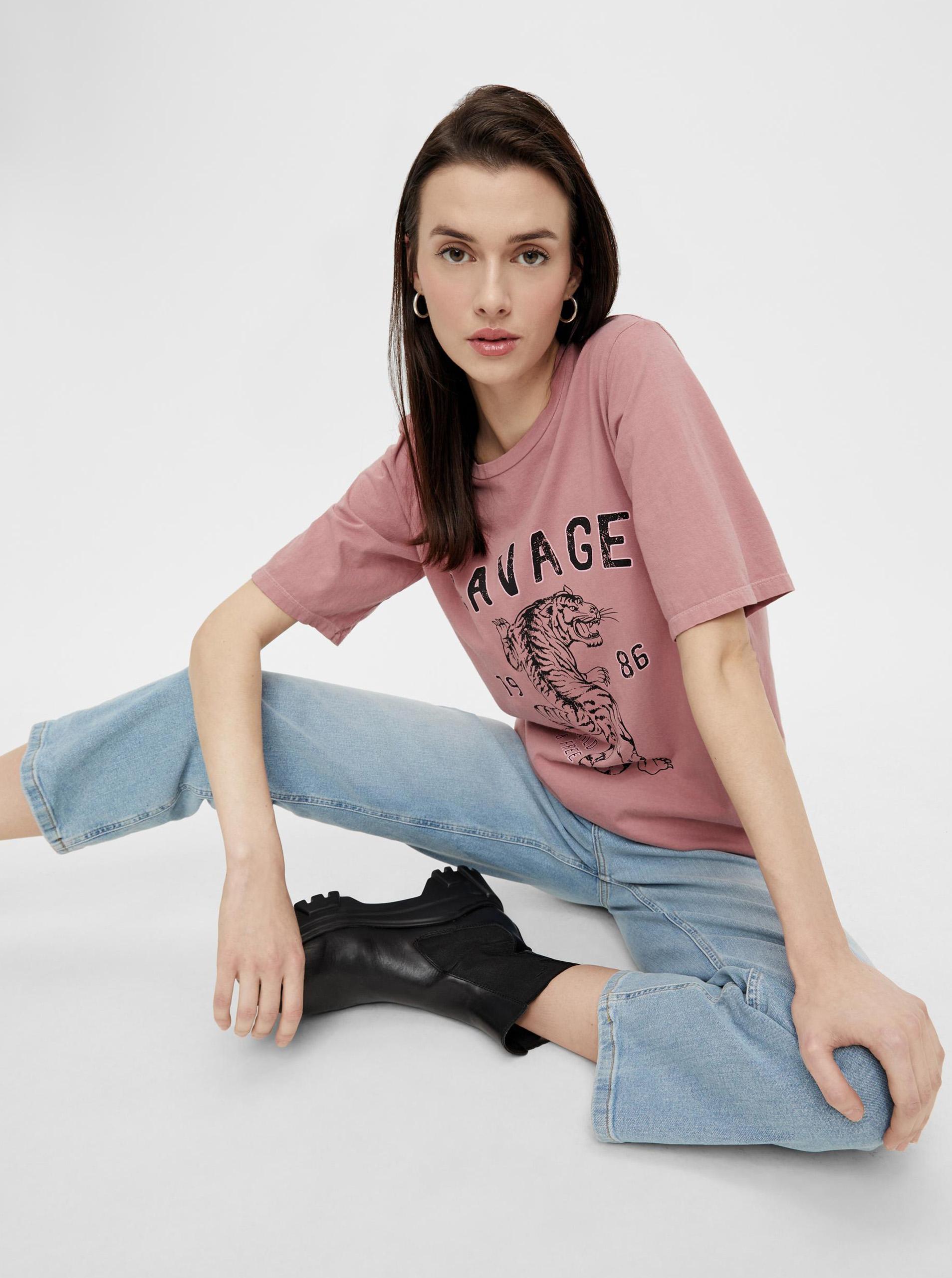 Pieces rózsaszín  női póló nyomtatással