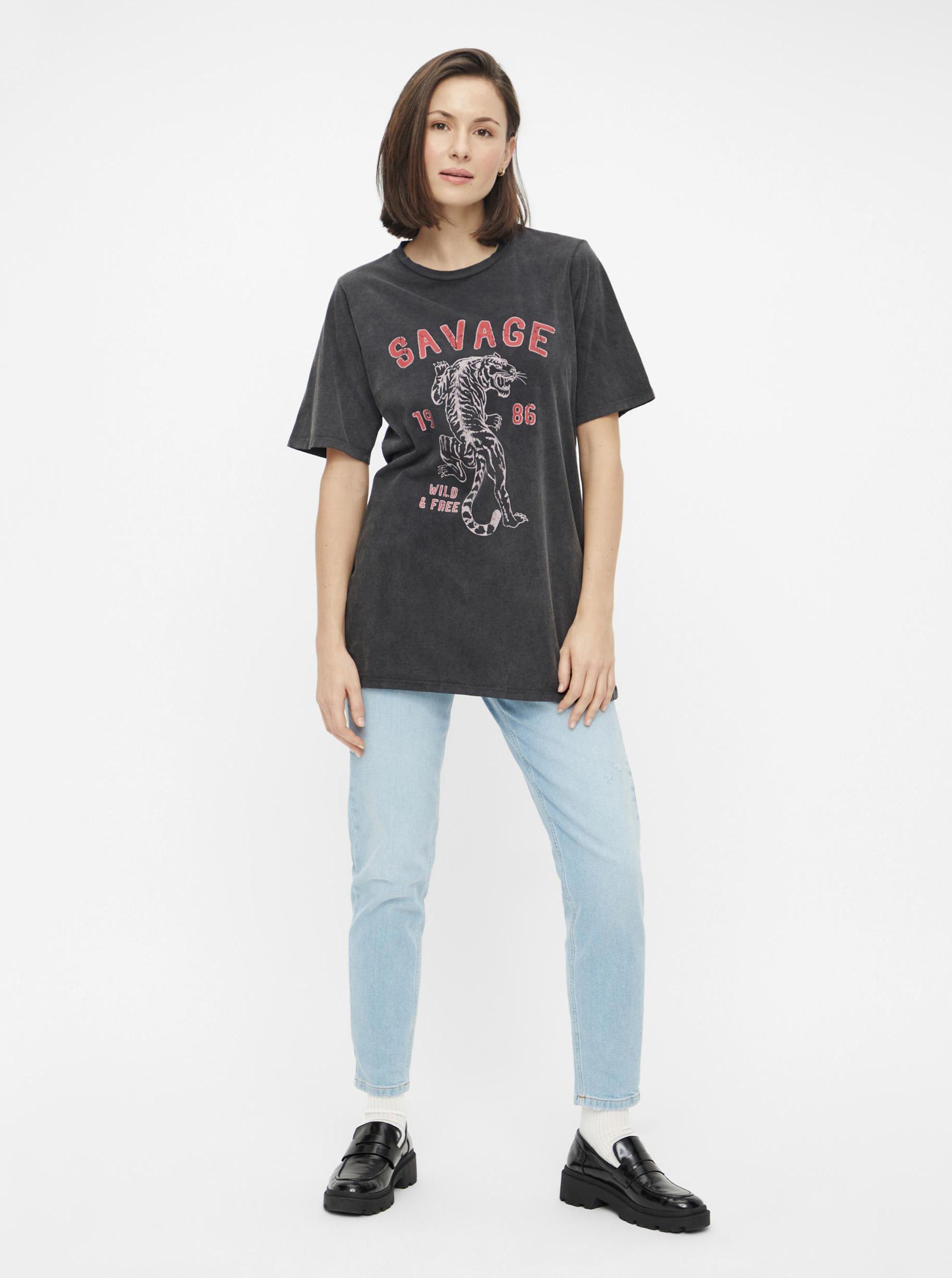 Pieces fekete női póló nyomtatással