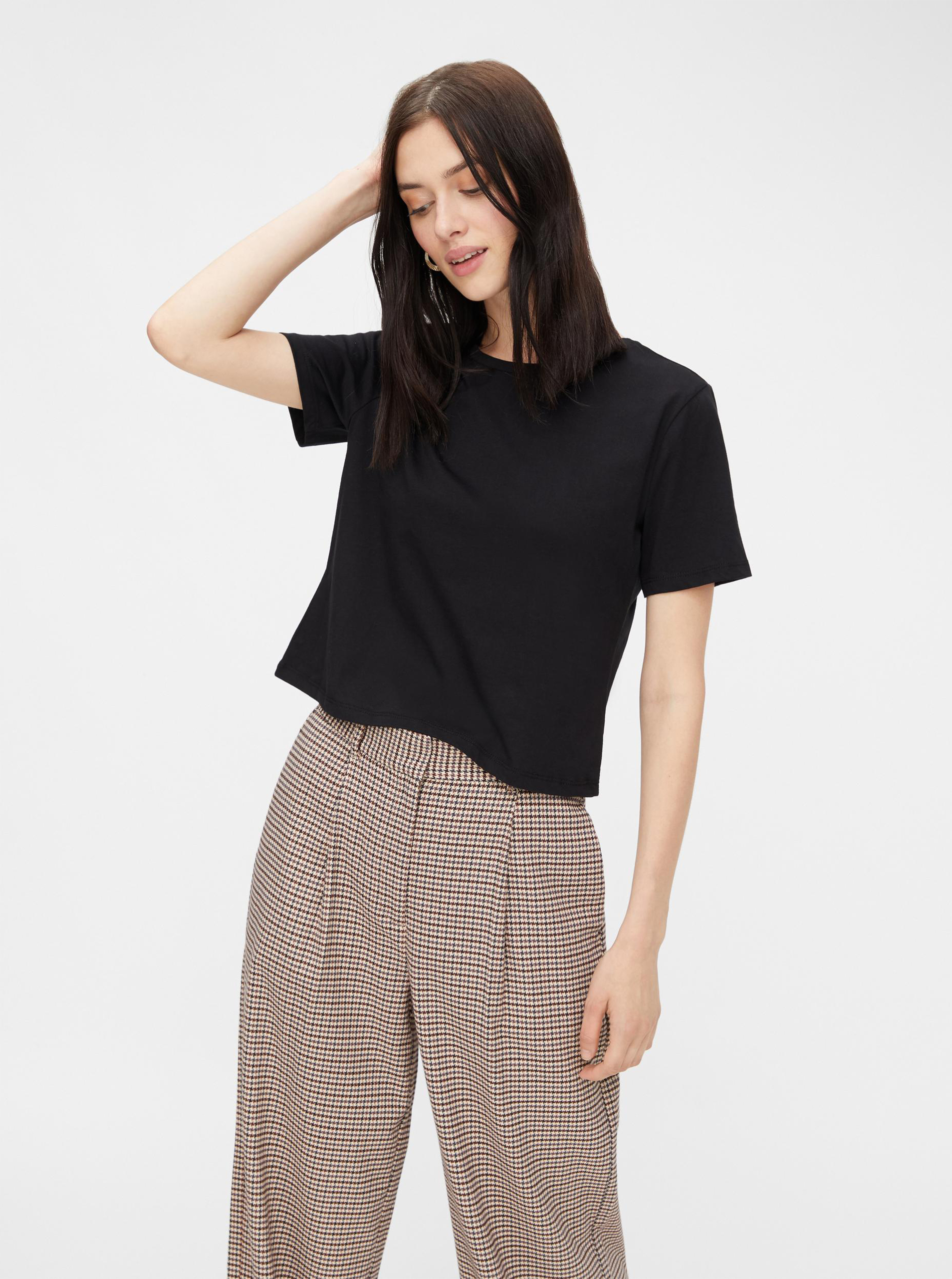 Pieces fekete basic levágták top Rina